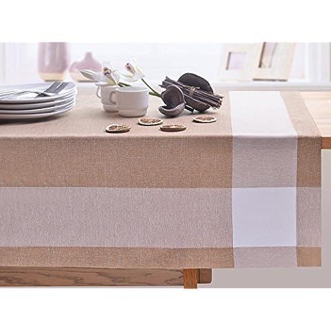 Tazas de café de cuadros de mantel de mesa de comedor muy práctico y de fácil cuidado Leinoptik lino con ribete de prendas de lino 90x150 Cappuccino