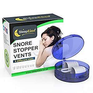 SleepEase® PREMIUM Snore Stopper Vents! STOP SNORING NOW! - Snoring Aid Scientifically Designed To Stop Snoring, Heavy Breathing, Sleep Apnea & Nasal Congestion - 4 Different Size Threaded Vents.