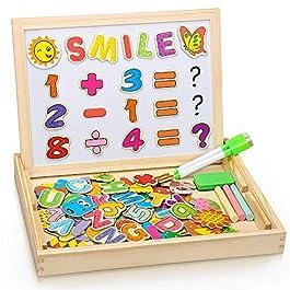 Dookey Puzzle di Legno Magnetico, Legno Giocattolo Puzzle Double Face, Lavagna Magnetica Educativo Giochi 3 4 5 Anni Toy Precoce(Modello Digitale)