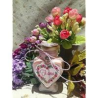 Vasetto a forma di cuore con candela personalizzabile San Valentino Festa della Mamma Grazie Auguri Compleanno Anniversario Ti amo Ti voglio bene Regalo di Natale