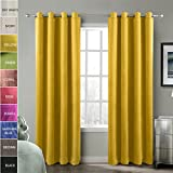 Best Eclipse Curtains Home Grommets - ChadMade Blackout Lined Premium Velvet Curtain Yellow 46W Review