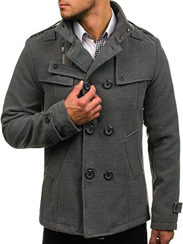 BOLF Herren Mantel mit modische Steppeinsätze Herrenmode Knopfleiste  eleganter Look Coat PPM 8857 Grau L   1d8033964b