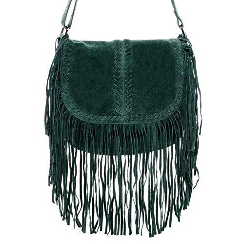 c4e38287188e1 BACCINI Schultertasche SARAH - Umhängetasche klein - Damentasche mit Fransen  - echt Wildleder blau grün