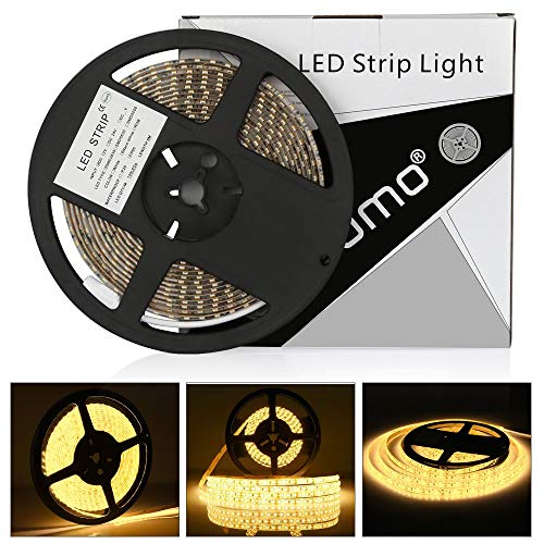 Tira led 12V 5m LEDMO,luces led 3000K SMD2835 tira led blanco cálido 600leds tiras led exterior IP65 impermeable strip led 15LM/LED cinta led ancho 8mm