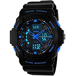 Amstt Kid Children's Watches Digital-analog with Alarm Stopwatch Chronograph For Age 7-15 Years old Boys Girls kids Sport Wrist Watch Blue