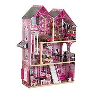 KidKraft 65944 Casa delle bambole in legno Bella per bambole di 30 cm con 16 accessori inclusi e 3 livelli di gioco