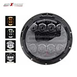 #8: AllExtreme 7 Inches Universal Round LED Projector Lens LED Headlights with High Low Beam + White DRL+Yellow Turn Signal for Jeep, Royal Enfield Bullet, Harley Davidson - Direct Replacement DLR Light Assembly Headlight Conversion Kit