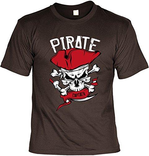Spaß/Fun-Shirt/Party-Shirt/ Rubrik lustige Sprüche: Pirate Captain geniales Geschenk Braun
