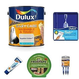 Dulux Easycare Washable and Tough Matt Paint, Egyptian Cotton 2.5 L + Basic Painting Kit