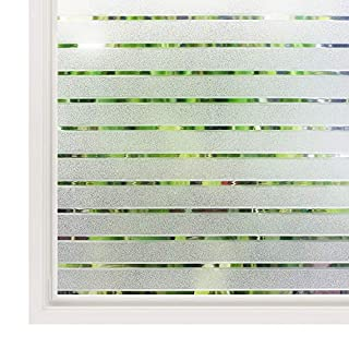 Rabbitgoo® Privacy Window Film Static Cling Frosted Window Film Opaque Glass Film No Glue Window Sticker UV Protection White Stripe for Office Living Room or Kitchen 44.5 * 150CM