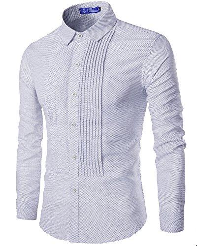 Chemises Homme Slim Fit Manches Longues Plissé Chemise Men Shirt Tops Blanc