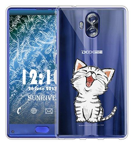 Sunrive Für DOOGEE Mix Lite Hülle Silikon, Transparent Handyhülle Schutzhülle Etui Case Backcover für DOOGEE Mix Lite 5,2 Zoll(TPU Katze 2)+Gratis Universal Eingabestift