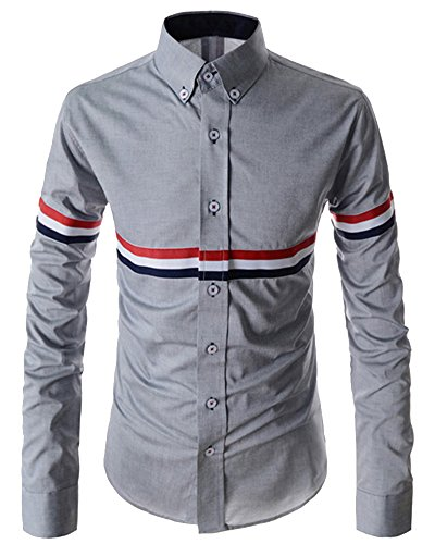Camicia Maniche Lunghe Uomo Camicie Casual Men Shirts Slim Fit Long Sleves Grigio