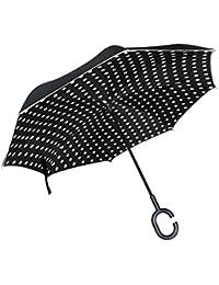 jstel doble capa auxiliar negro y blanco lunares paraguas coches Reverse resistente al viento lluvia paraguas