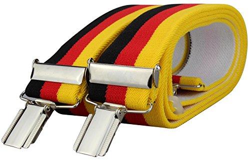 Alex Flittner Designs Bretelles aux couleurs d'Allemagne ou France ou Italie avec 4 extra solides pinces 35mm