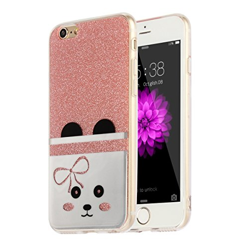 """MOONCASE iPhone 6s Coque, Bling Glitter Motif Etui TPU Silicone Antichoc Housse Case pour iPhone 6 / iPhone 6s (4.7"""") (Ours - Or) Chat - Rose"""