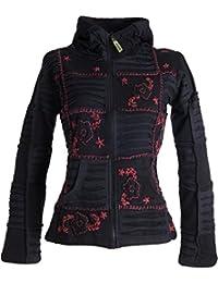 Vishes – Alternative Bekleidung – Mit Blumen bestickte Patchwork Jacke aus Baumwolle, mit Zipfelkapuze