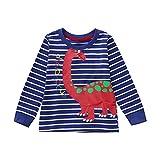 Yanhoo Kinderkleidung, Kindermode Herbst Winter Baby Mädchen Jungen Langarm Gestreift Cartoon Weichen Kleinkind Kinder Tops Shirt Bekleidung (125-130CM/5T, Blau)