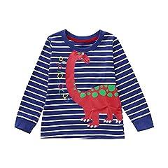 Idea Regalo - Topgrowth Maglietta Bambino Ragazzo Maniche Lunghe Stampa Dinosauro T-Shirt A Righe Camicia da Bambino Cartone Animato Top
