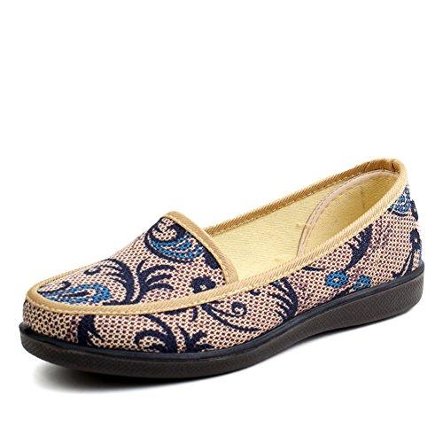 Lady,Chaussures à Bouche Légère Talon Plat,Anti-dérapant Shoes A