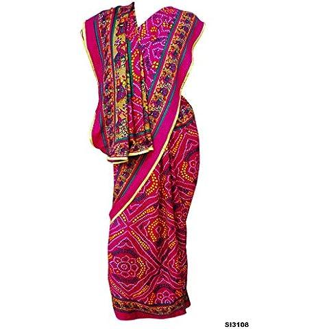Desgaste magenta Bandhani impresión tradicional sari Mose Crepe Partido Tela Tela Mujeres Sari 5YD