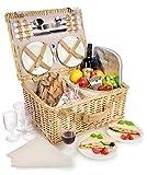 Sänger Picknickkorb aus Weidengeflecht mit integrierter Kühltasche | Innenseite aus Stoff in Beige | Der Weidenkorb beinhaltet Teller, Besteck und Gläser sowie...