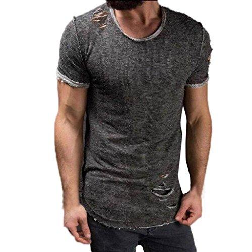 Ningsun t-shirt uomo fori maniche corte irregolari collare tops casual moda camicia a manica corta da uomo a collo alto cotone comodo pullover maglietta del foro di modo degli uomini (grigio, s)