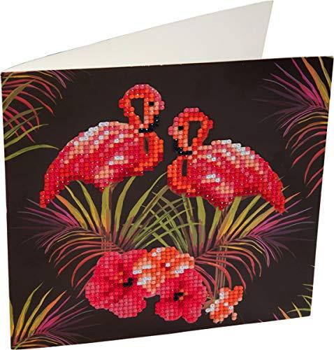 Diamond Painting Crystal Card Kit Flamingos - 18x18cm