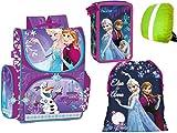 Disney Frozen Anna und ELSA Schulranzen Ranzen Tornister, XXL Federmappe 43-teilig 3-stöckig, Turnbeutel + Regenschutz Eiskönigin Schulranzen Set