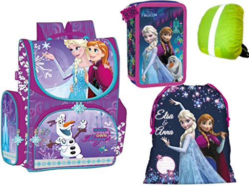 Disney Frozen Anna und ELSA Schulranzen Ranzen Tornister, gefüllte Federmappe 2-stöckig, Turnbeutel + Regenschutz Eiskönigin Schulranzen-Set