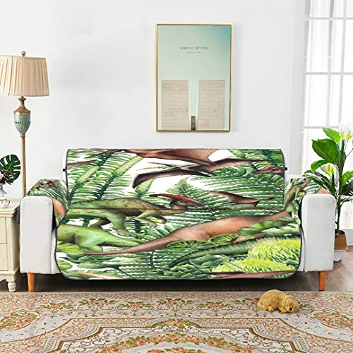 """QuqUshop Group Realistic Watercolor Dinosaurs Surrounded By Sofa Cover Cushion Sofa Blanket Cover Velvet Dining Chair Slipcover for 45""""(114cm) Sofa Protect from Kids Dogs Pets"""