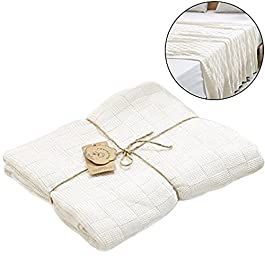 Da Jia Inc Bambus Baumwolle Swaddle Blanket Weich Wickeltuch für Mädchen und Jungen Ideal als Weihnachtsgeschenk (Weiß)