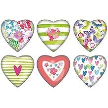 Magnet 3,9x3,9x1,7cm Herz Schmetterling+Blume sort