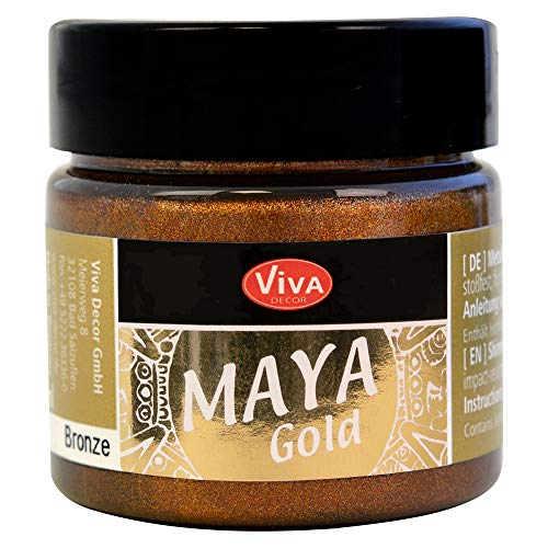 Viva Decor®️ Maya Gold (Bronze, 45 ml) Acrylfarbe mit Metallic Effekt - Malfarbe - Acryl Farben für Holz, Pappe, Beton, Papier, Leinwand UVM. - Made in Germany