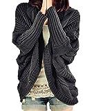 Popbop Frauen lose Strickjacke plus Größen-Flügel Sleeve Sweater Outwear Oberteile (dunkelgrau)