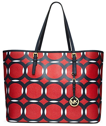 Michael Kors Medium Jet Set Deco Travel Tote (Mand/Navy/White)