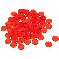 MagiDeal Bingo Chip Translúcido para Tarjetas Juego de Bingo - Rojo, 100 piezas