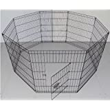 BUNNY BUSINESS 8 Panel Playpen Suitable for Rabbits/Guineas/Dogs and Cats, Extra Large, Black