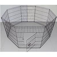 BUNNY BUSINESS Conejo negocios 8Panel Parque para conejos/Guineas/perros y gatos, tamaño mediano, color negro