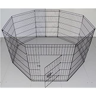 BUNNY BUSINESS 8 Panel Playpen Suitable for Rabbits/Guineas/Dogs and Cats, Large, Black 51ni8JSbkNL