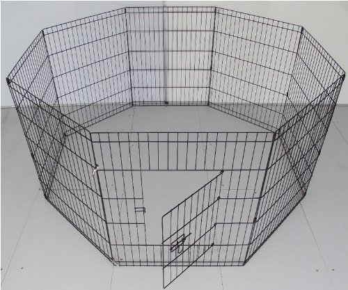 bunny-business-8-panel-playpen-suitable-for-rabbits-guineas-dogs-and-cats-small-black