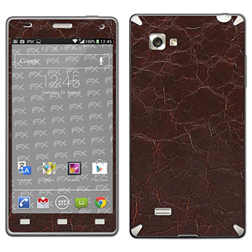atFolix Skin kompatibel mit LG Optimus 4X HD P880, Designfolie Sticker (FX-Rugged-Leather-Brown), Grobe Leder-Struktur