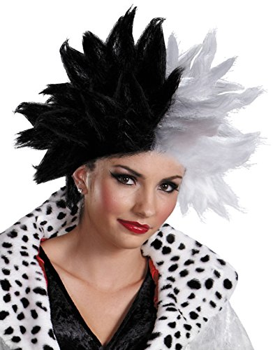 Cruella De M Deluxe Perücke, Damen 101Dalmatiner Kostüm Zubehör
