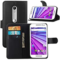 Moto G 3rd Generation Case, HL Brothers Premium PU Leather Wallet Flip Case Cover with Stand Card Holder for Motorola Moto G 3rd Gen / G3 2015 Smartphone