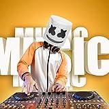 Jestool DJ Maske Marshmello, Maschera Marshmallow Caschi per Festival Musicali Maschera in Lattice Ultra Cool di Gomma per Adulti e Adolescenti DJ Marshmello Maschera Costume Cosplay Festa, Bianco