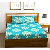 Fab Theory Rajasthani Royalty 104 TC 100% Cotton Double Bedsheet with 2 Pillow Covers, Aqua