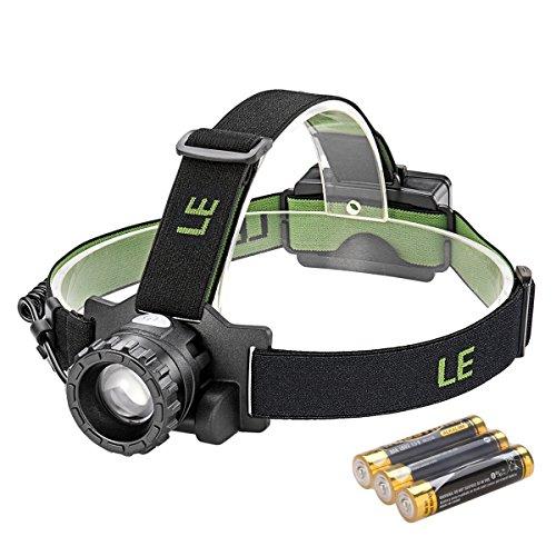 LE Led Stirnlampe, Super Helle, zoombar, IPX4 wasserfest LED Kopflampe, 150lm, CREE Birne, 4 Lichtmodi, Batterie ersetzbar, fokussierbar 160m Reichweite, handfreie Scheinwerfer, Ideal fuer Camping, Joggen, Jagd und Lesen