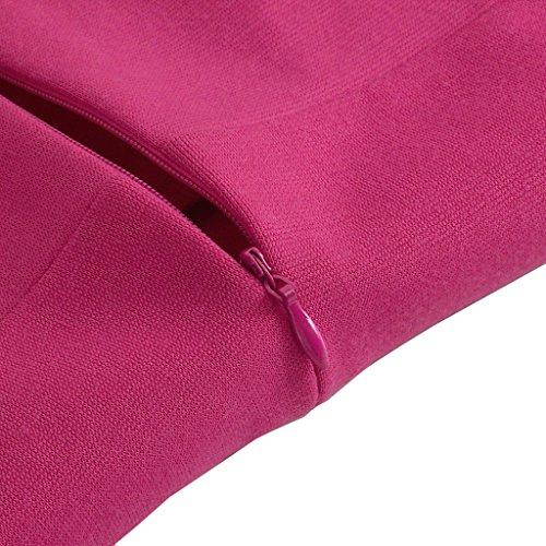 HOMEYEE femmes Elégant col rond manches longues jupe courte Slim Praty Robe 441 Rose