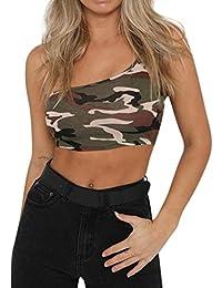 QinMM Camiseta Camisola de Camuflaje sin Mangas para Mujer, Camisa de Hombro Singe