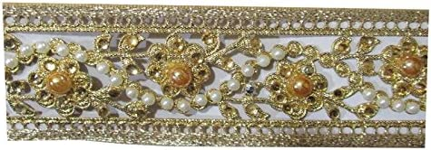 Tirupati Zari lace for dress/sarees/blouses,suits,caps/bags/decorations/borders,crafts in Gold-White Color (Size 9 Meter appox)